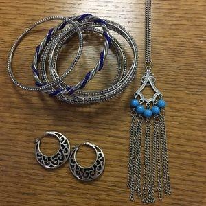 Jewelry - Silver and Blue Jewelry Set (3 piece)